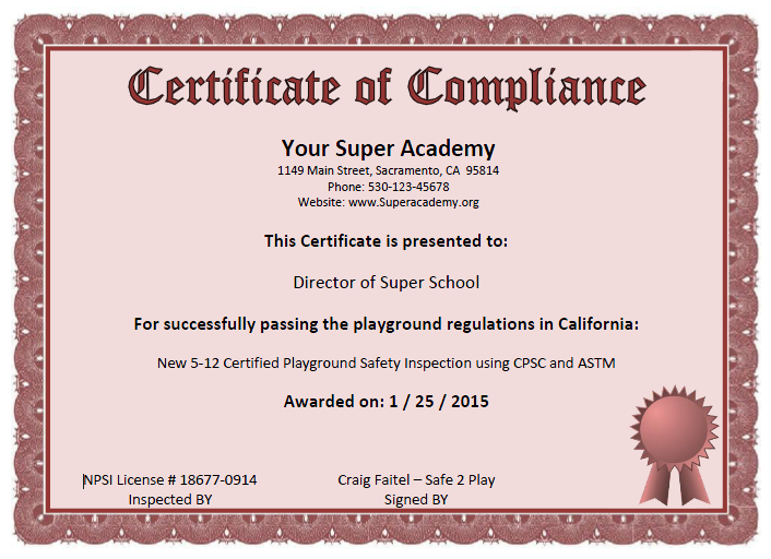 certificate of compliance form template - about us playground safety inspections audits reviews